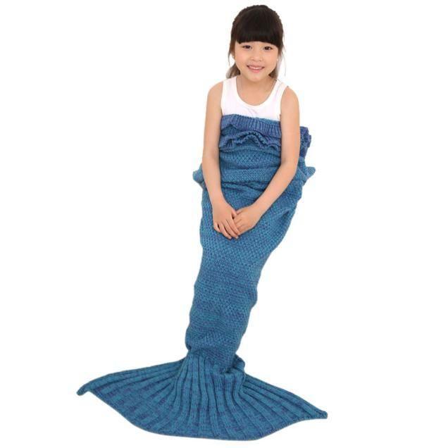 Knitted Mermaid Tail Blanket Handmade Crochet Children Throw Bed Wrap Sleeping Bag
