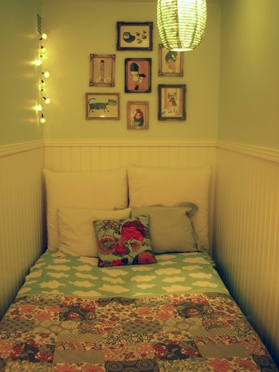 Tiny bedroom. It would be awkward to make the bed but I still love it.