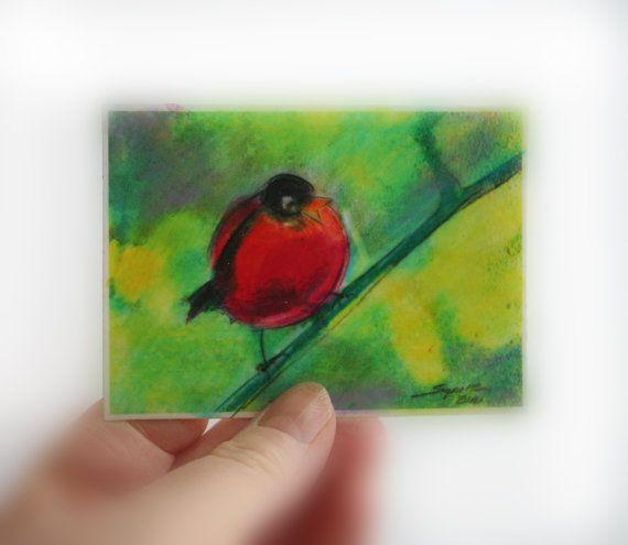 $8.50 Red Robbin aceo original bird art tiny art by dahliahousestudios #Art #Aceo original #Miniature art #Artist trading cards #Bird art #Miniature bird art #Mixed media original