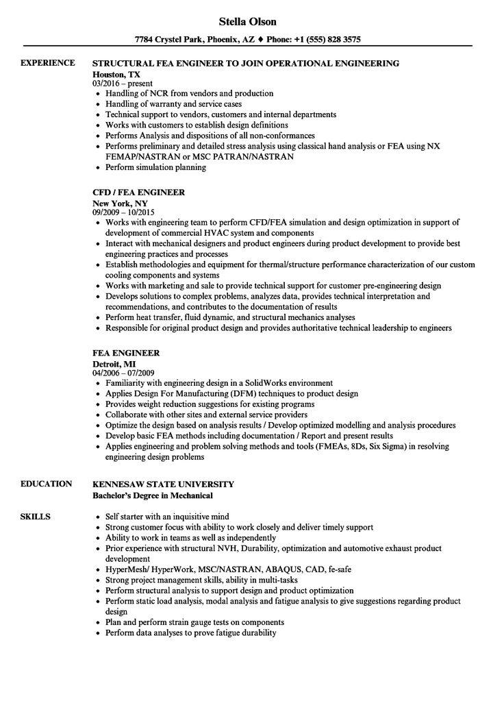 Fea Engineer Resume Samples Velvet Jobs in Fea Report