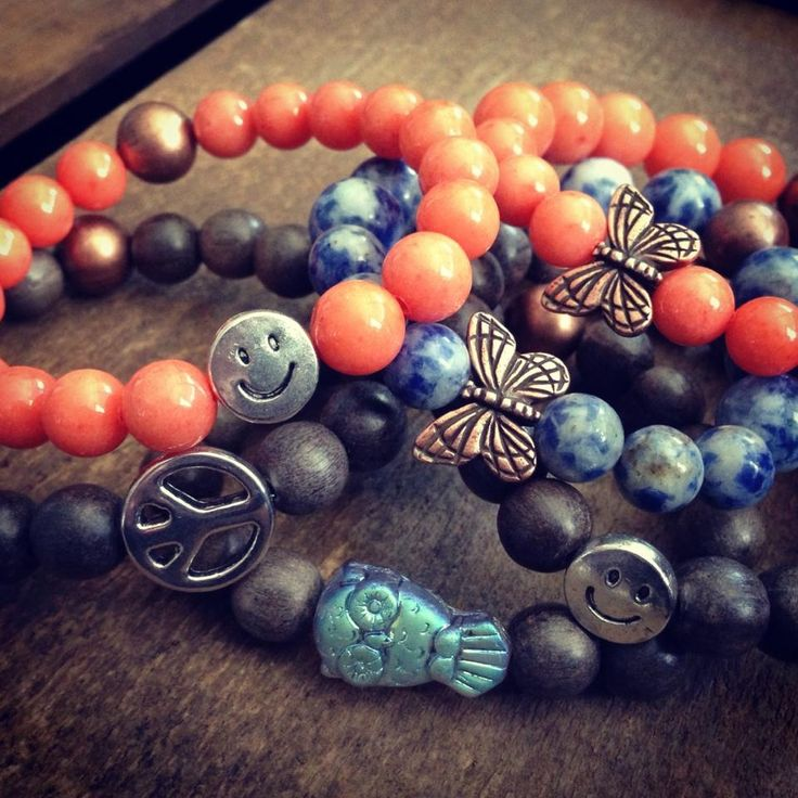 Smiley faces, peace signs, butterflies & owls ...kids stretch bracelets