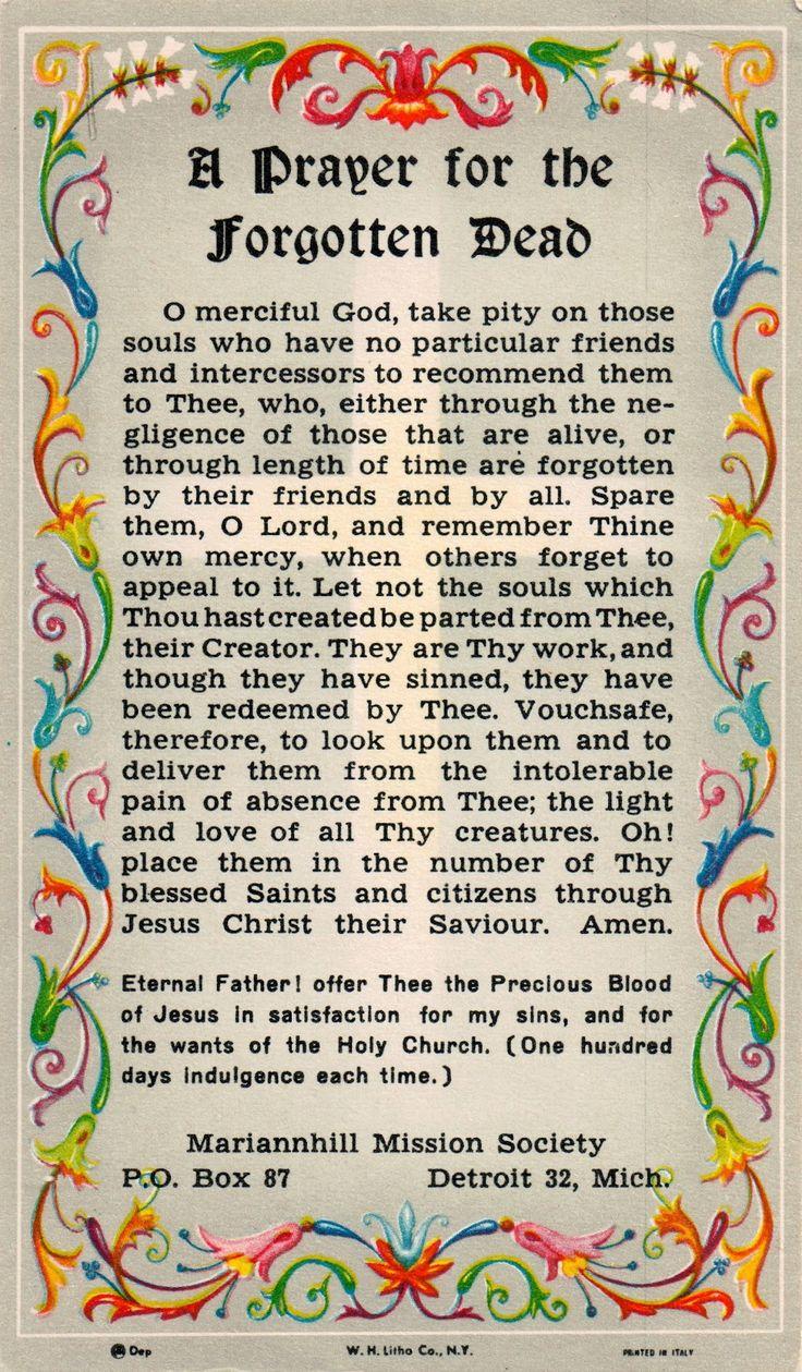 A prayer for the Forgotten Dead