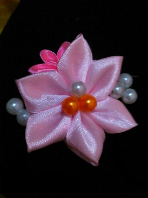 pink brooch and white beads :D