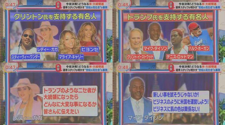 ヒラリー・クリントン ドナルド・トランプ セレブの支持者たち レディ・ガガ マイク・タイソン