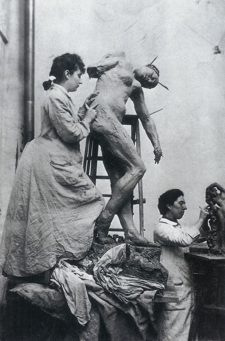 Camille Claudel (left, French sculptor) and Jessie Lipscomb (English sculptor) in their shared studio 1896.