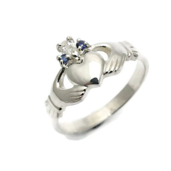 Claddagh ring real diamond and sapphire claddagh ring. by Ascheron