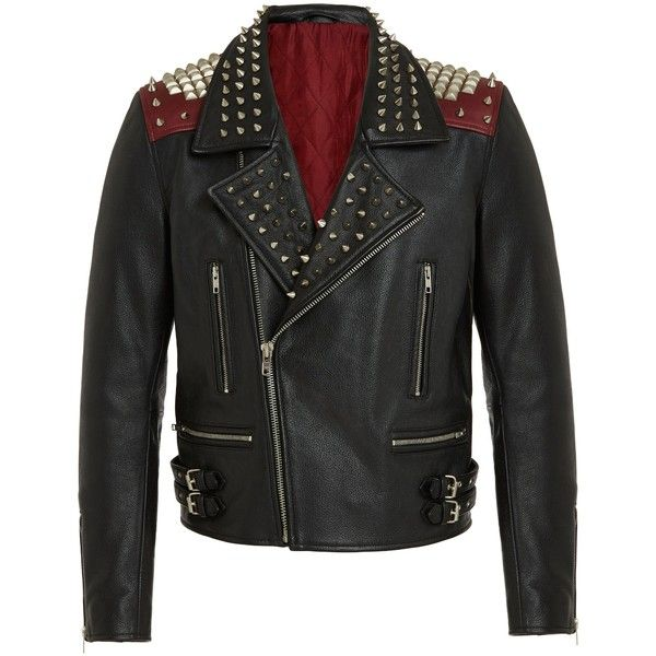 RADDAR7 - Punk Rock Leather Biker Jacket (31.855 RUB) ❤ liked on Polyvore featuring men's fashion, men's clothing, men's outerwear and men's jackets