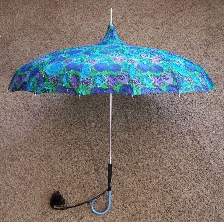 Beautiful Victorian-style Blue, Green, Violet Floral Umbrella Parasol Sun Shade #Unbranded #Parasol