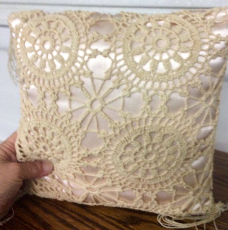 satin crocheted pillow small pillow weddings by StartathomeVintage on Etsy https://www.etsy.com/listing/113860799/satin-crocheted-pillow-small-pillow