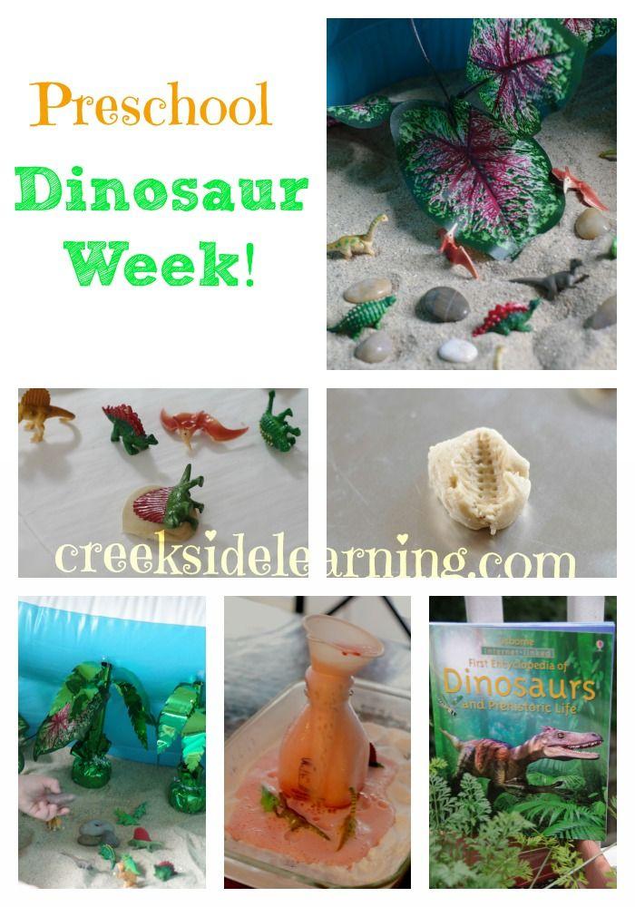 It's a dinosaur theme this week at preschool! Dinosaur sensory play, our favorite dinosaur book, make dinosaur fossil print cookies, cardboard dinosaur feet and more.