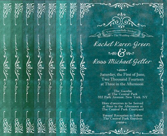 Green Wedding Invitations / Rustic Weddings /  Teal Green Chartreuse Apple Jade Olive Forest Mint Pistachio Sea Green / PRINTED INVITATIONS