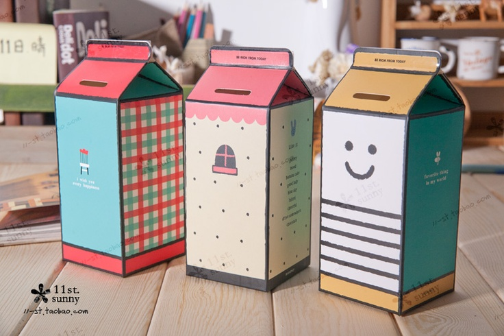 Aliexpress.com : Buy Milk box diy cardboard piggy bank box zakka japanese style saving tube from Reliable Money Boxes suppliers on andyeah 's store