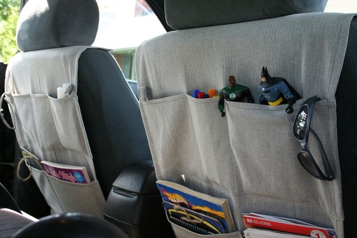 Keep your car clean and organized. Thanks to this DIY car organizer from Mayfly, store books, toys and other items within easy reach to make those long car trips a breeze. Click in to learn how to sew your own.