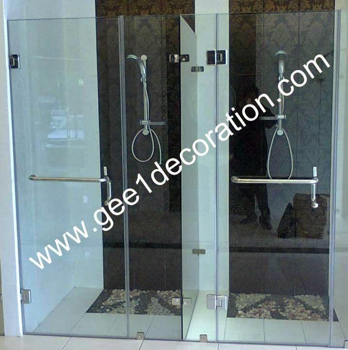 aluminium, kusen, kaca, partisi,  pintu, jendela, lipat, geser, swing, jungkit, pivot, sliding, : shower  glass to glass