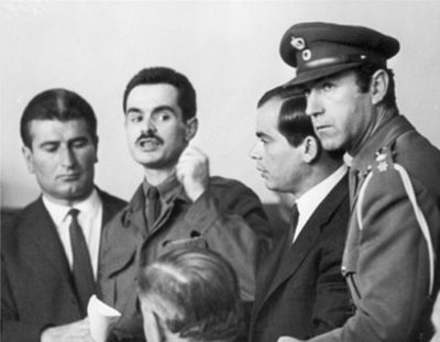 Alekos was put on trial by the Military Court on 3 November 1968, condemned to death with other members of National Resistance on 17 November 1968, and subsequently transported to the island of Aegina for the sentence to be carried out.As a result of political pressure from the international community, the junta refrained from executing him and instead incarcerated him at the Bogiati Military Prisons on 25 November 1968.