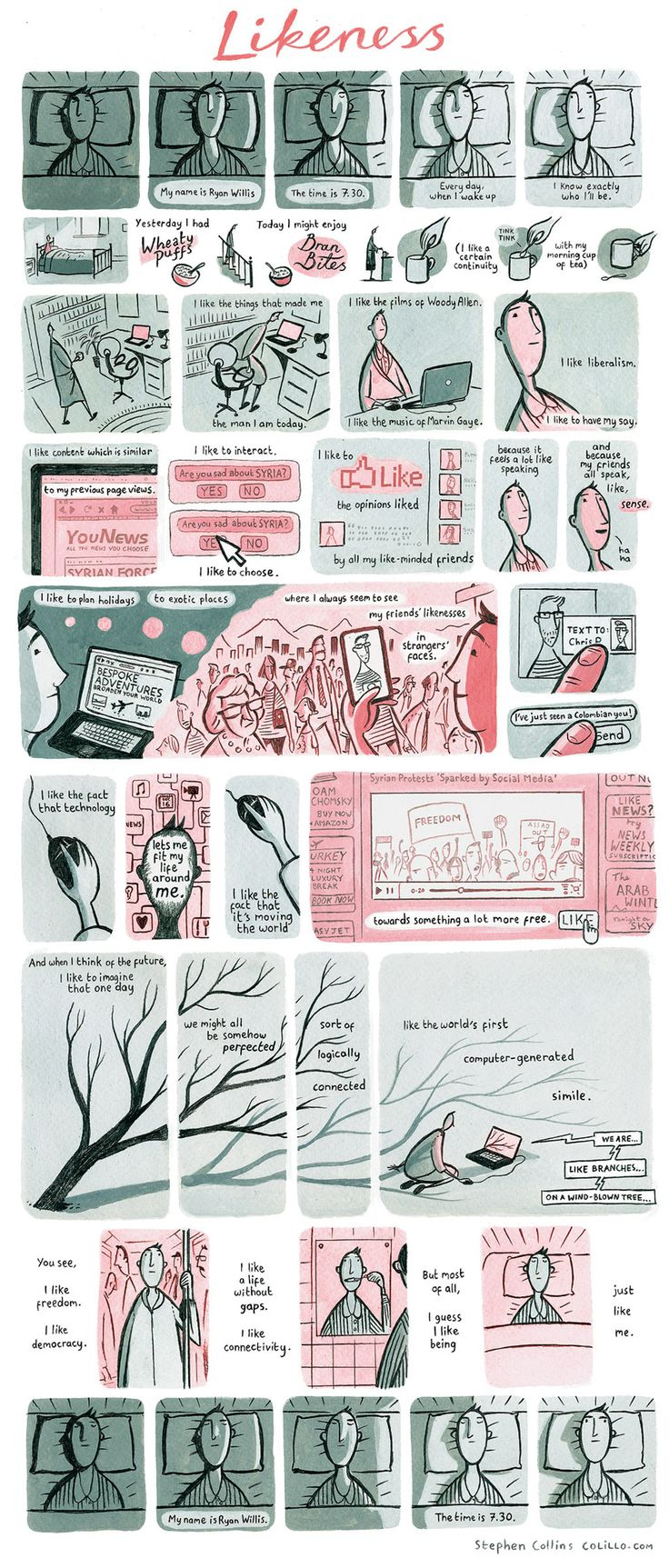 Stephen Collins's comic in The Guardian is a really poignant piece on our times.  The art style is great and the literary prose is very moving.  Highly suggested.