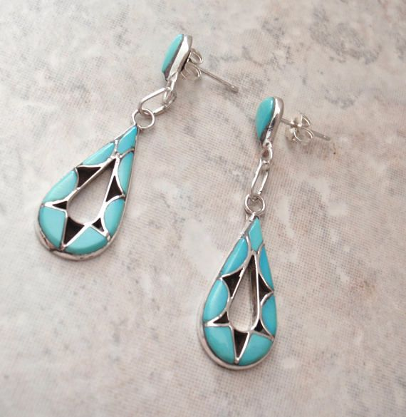 Turquoise Sterling Earrings Inlaid Silver Posts Teardrop Pear Vintage By Cutterstone On Etsy