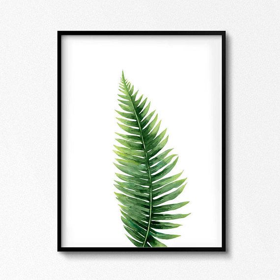 Remote Print. Leaf watercolor. Forest leaves. Botanical illustration. Plant Leaves Watercolor Poster. Nature Scandinavian wall art. Great pressure