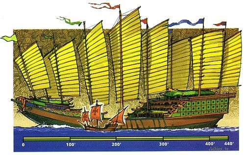 1405- 1433- Chinese admiral Zheng He takes seven voyages to seek a direct route to African & European markets without using Arab & Turkish middlemen.  His huge ships with silk sails reach Africa before conservative Confucians decide foreign business is taking away jobs from the Chinese & forbid foreign economic expansion.  Many from the Chinese merchant class flee to Indonesia.
