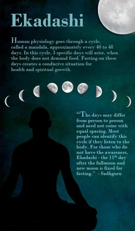 Ekadashi means the 11th day after the full moon and the 11th day after the new moon. The human physiology goes through a cycle called a mandala, approximately every 40 to 48 days. In this cycle, three specific days will arise when the body does not demand food. If you identify those days in your life and not give the body food – because it is not asking for it – a lot of your health issues will be handled by that simple pattern.