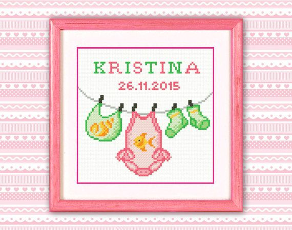Personalised Cross Stitch Pattern PDF Baby Little by TimeForStitch