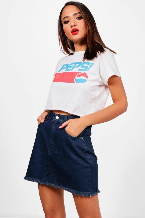 boohoo Helen High Waisted Denim Micro Mini Skirt