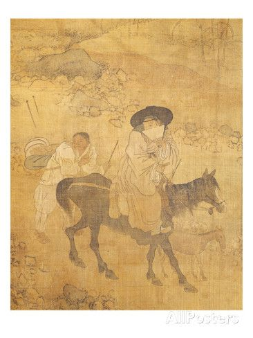 Woman on Horseback Followed by Her Servant, from Genre Scenes Giclee Print by Hong-Do Kim at AllPosters.com