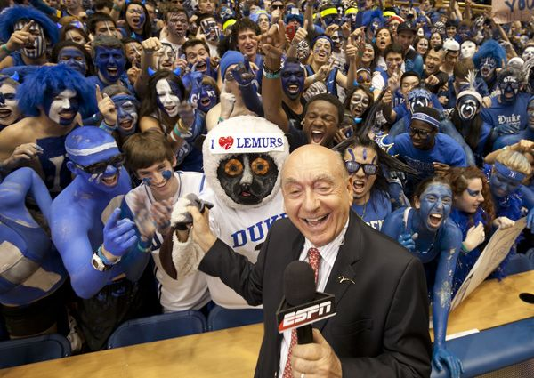 Joel the Lemur and the rest of the Crazies meet Dick Vitale at the March 3 UNC game.