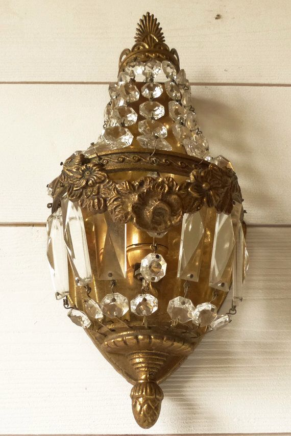 My antique French crystal wall sconce.