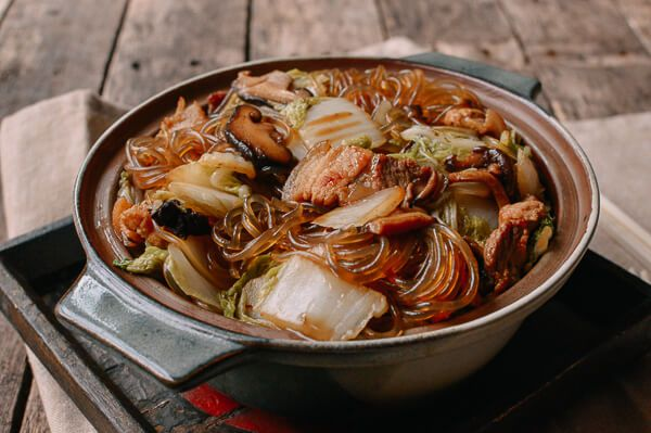 Braised Glass Noodles with Pork & Napa Cabbage, by  thewoksoflife.com -- this is one of my favorites