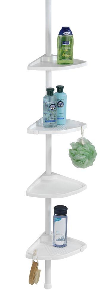 Das Eckregal COMPACT in weiß ist universell einsetzbar in der Duschkabine, in der Badewannenecke oder im Badezimmer und bietet ideale Ablagemöglichkeiten für Shampoo, Seife und andere Bad-Utensilien.