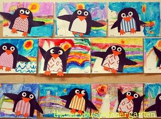 super cute mixed media 2-step penguin art project!