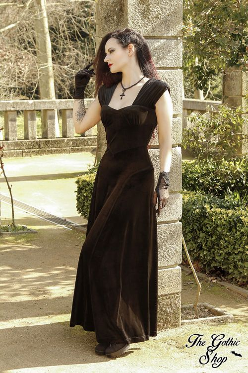 Geraldine Long Black Gothic Dress by Spin Doctor