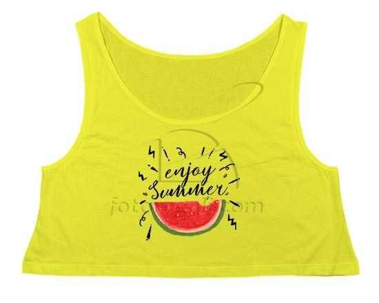 Crop top con scritta estiva e frutta