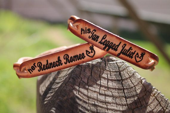 Her Redneck Romeo, His Tan Legged Juliet  Braided LEATHER Bracelet -set of two bracelets