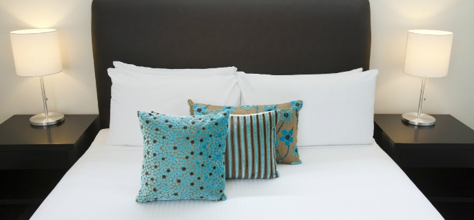 Love these coloured cushions at Cosmopolitan Hotel, Melbourne