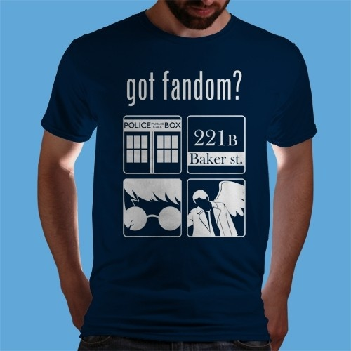 Doctor Who, Sherlock Holmes, Harry Potter and Supernatural.....On the same shirt <3 I NEED THIS!