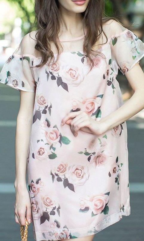 Pink  Floral Fashion Dress