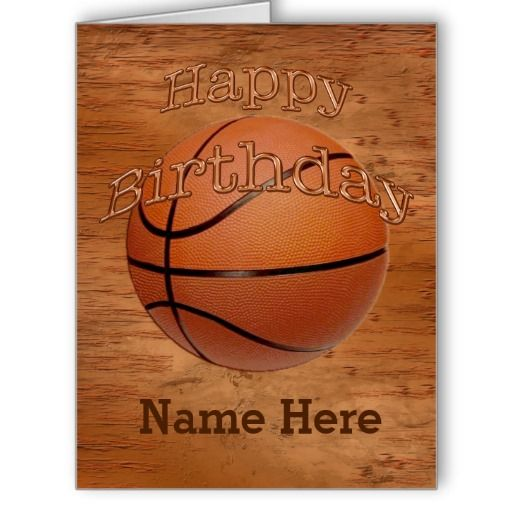 """Cool Grunge Personalized Basketball Birthday Cards for guys. CLICK: http://www.zazzle.com/cool_grunge_personalized_basketball_birthday_cards-137060028700137357?rf=238147997806552929* Vintage grunge background with his NAME typed into text box. Metal looking """"Happy Birthday"""" on the Basketball. ALL Basketball Gifts including coordination personalized basketball wrap paper. HERE: http://www.zazzle.com/littlelindapinda/gifts?cg=196808750908670951&CALL Linda: 239-949-9090"""