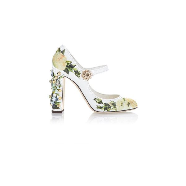 Dolce & Gabbana Floral Mary Jane Pump (12,830 EGP) ❤ liked on Polyvore featuring shoes, pumps, sapato, mary jane shoes, white mary janes, white pumps, floral print pumps and white patent leather pumps