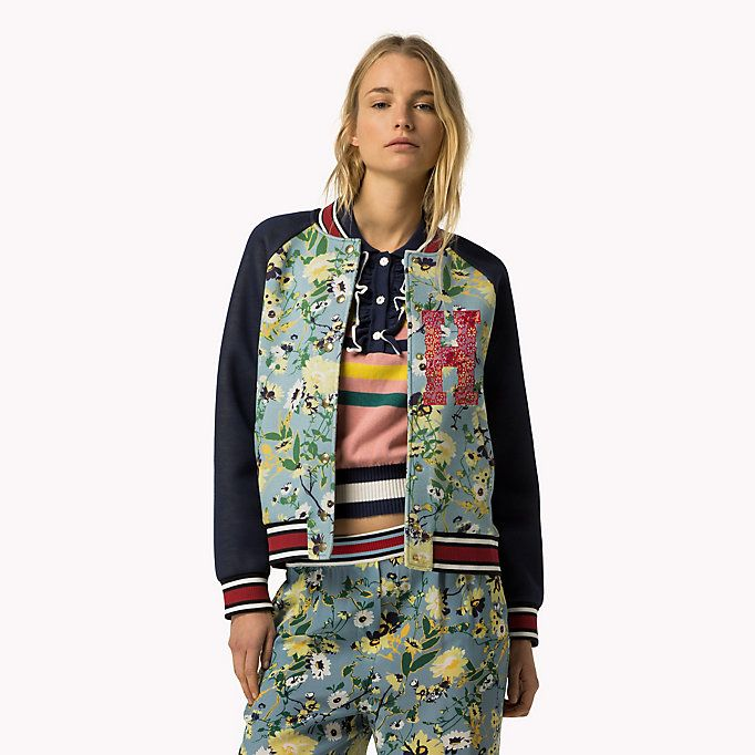 HILFIGER COLLECTION Floral Bomber Jacket - NAVY BLAZER / MULTI - HILFIGER COLLECTION Clothing - main image