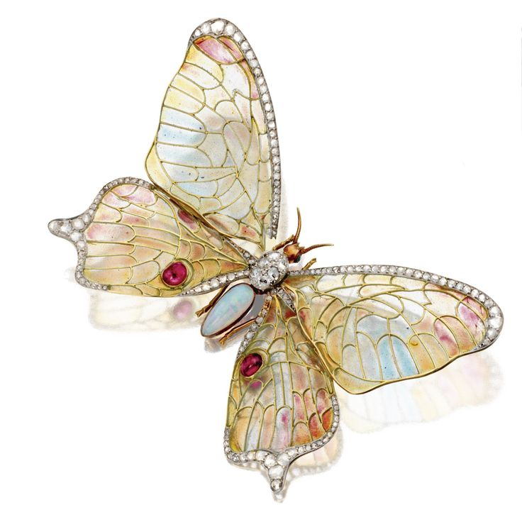 ART NOUVEAU PLIQUE-À-JOUR ENAMEL JEWELLED BUTTERFLY BROOCH, FRENCH, CIRCA 1900. Mounted en tremblant, the body formed of a cluster of rose-cut diamonds and an elongated pear-shaped cabochon opal, the wings of plique-à-jour enamel in pastel shades of blue, rose and yellow-orange, edged in small rose-cut diamonds and decorated with 2 oval cabochon rubies, mounted in 18 karat gold, French assay mark.