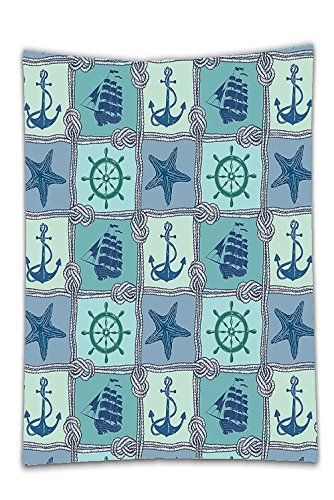 Interestlee Satin drill Tablecloth?Ships Wheel Decor Nautical Patchwork Pattern With Ropes Starfish Sailing Ship Anchor And Wheel Turquoise Dining Room Kitchen Rectangular Table Cover Home Decor