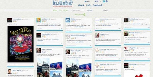 Lo que precisamente hace Kulisha es obtener las publicaciones de nuestras cuentas de Twitter y Facebook y las ordena de forma clara al estilo Pinterest,