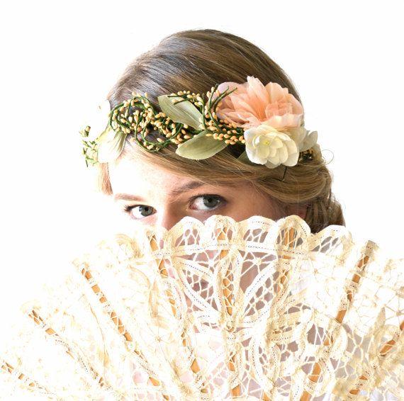 Peach wedding hair Head Wreath Bridal hair by hazelfaire on Etsy, $128.00
