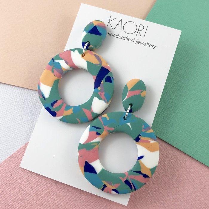 Polymer clay earrings, statement earrings in green colour splash