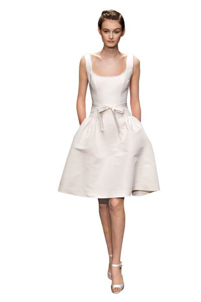 I love the pockets on this short white dress. So cute for the rehearsal dinner. Rehearsal Dinner Dresses - Rehearsal Dinner Fashion   Wedding Planning, Ideas & Etiquette   Bridal Guide Magazine