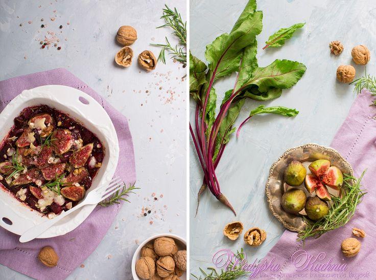 Тёплый салат из запечёной свеклы и инжира с паниром в ароматном соусе. Wedyjska Kuchnia - вегетарианское блаженство вкусов.