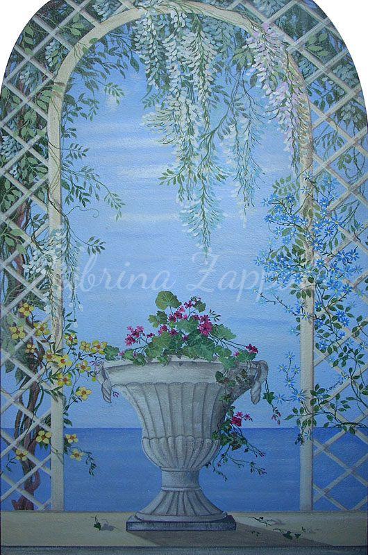 Trompe l'oeil con vaso di fiori