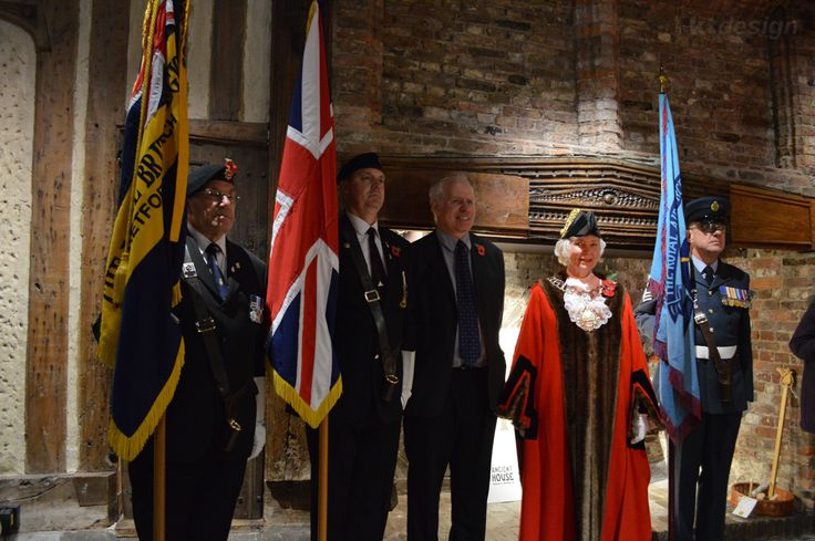 Official opening of the #WW1 exhibition at Ancient House Museum, Thetford (Oliver Bone, Curator with the Town Mayor and Standard Bearers)